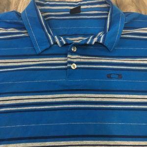 Men's Oakley blue stripped polo shirt size XXL